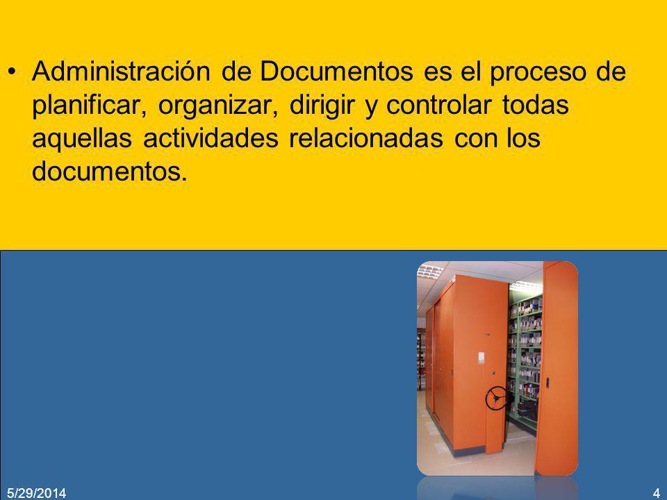 Administración de Documentos es el proceso de planificar, organizar, dirigir y controlar todas aquellas actividades relacionadas con los documentos.