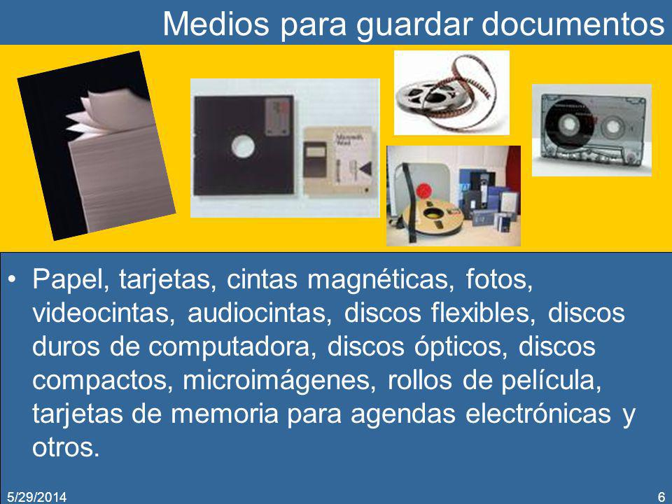 Medios para guardar documentos