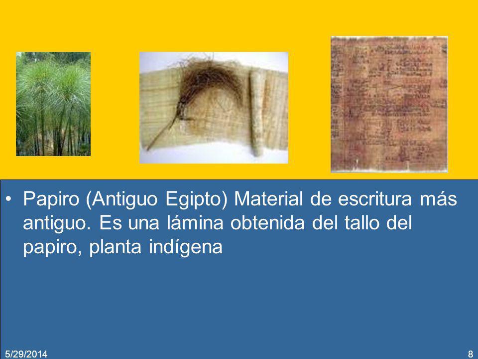 Papiro (Antiguo Egipto) Material de escritura más antiguo