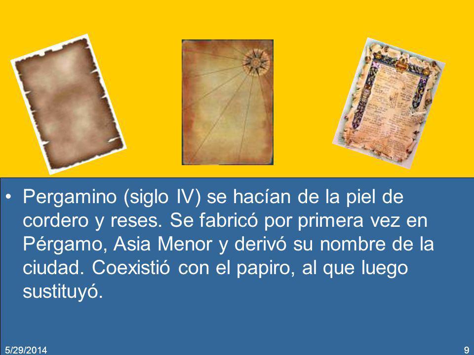 Pergamino (siglo IV) se hacían de la piel de cordero y reses