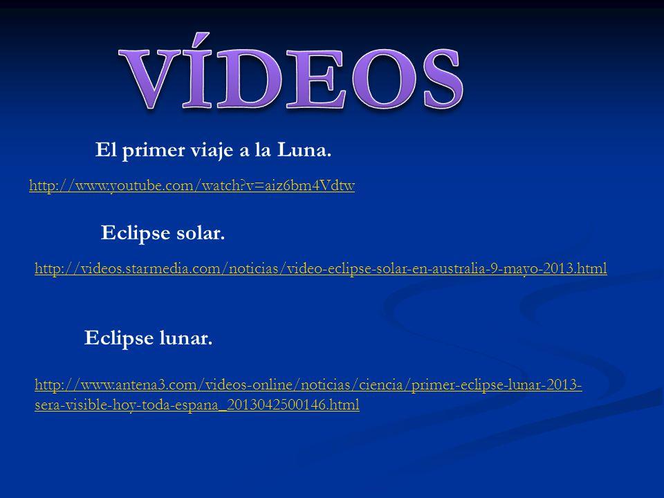 VÍDEOS El primer viaje a la Luna. Eclipse solar. Eclipse lunar.