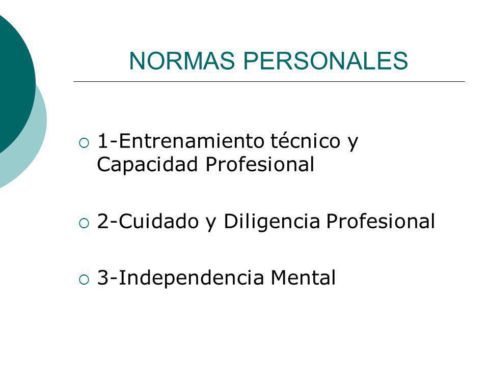 NORMAS PERSONALES 1-Entrenamiento técnico y Capacidad Profesional