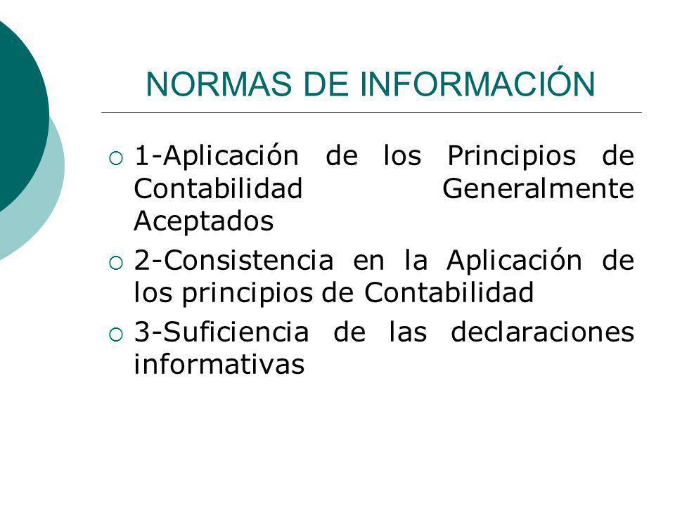 NORMAS DE INFORMACIÓN 1-Aplicación de los Principios de Contabilidad Generalmente Aceptados.