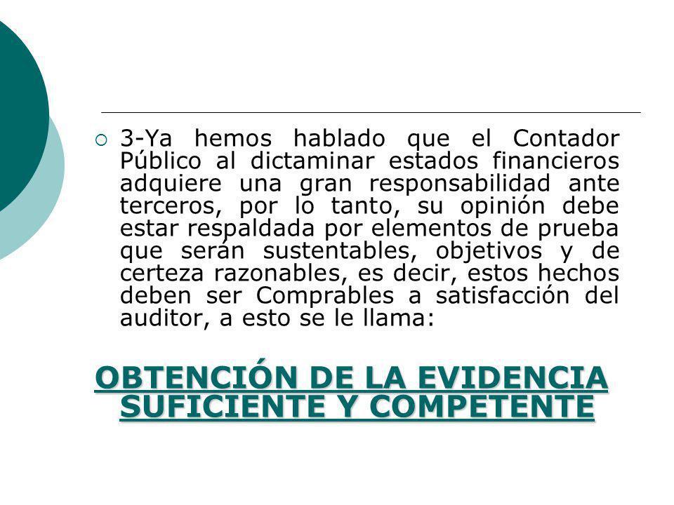 OBTENCIÓN DE LA EVIDENCIA SUFICIENTE Y COMPETENTE