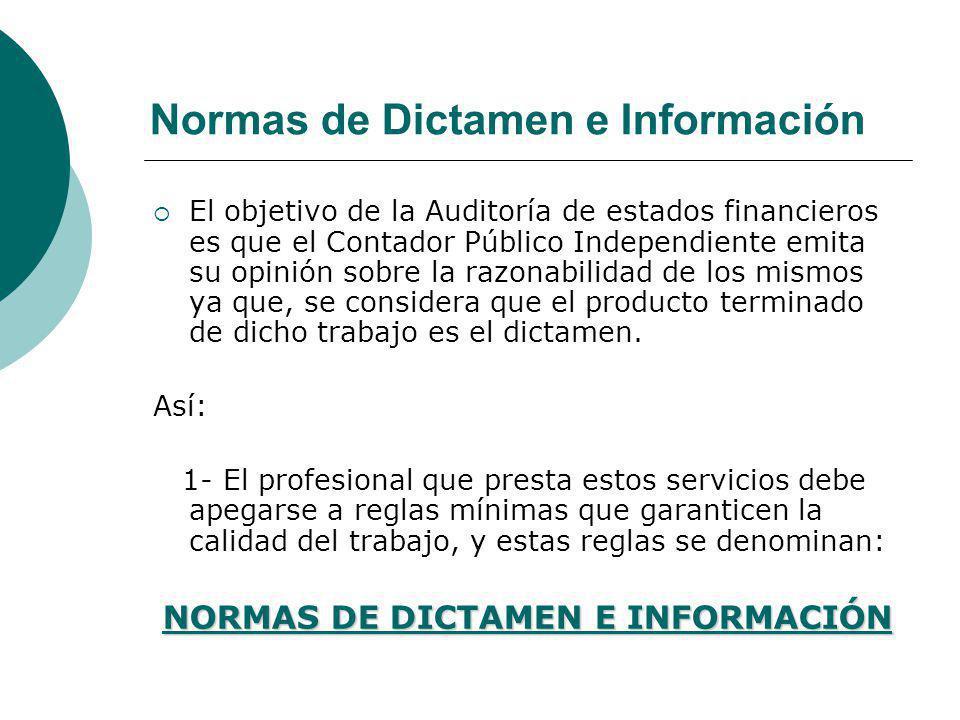 Normas de Dictamen e Información