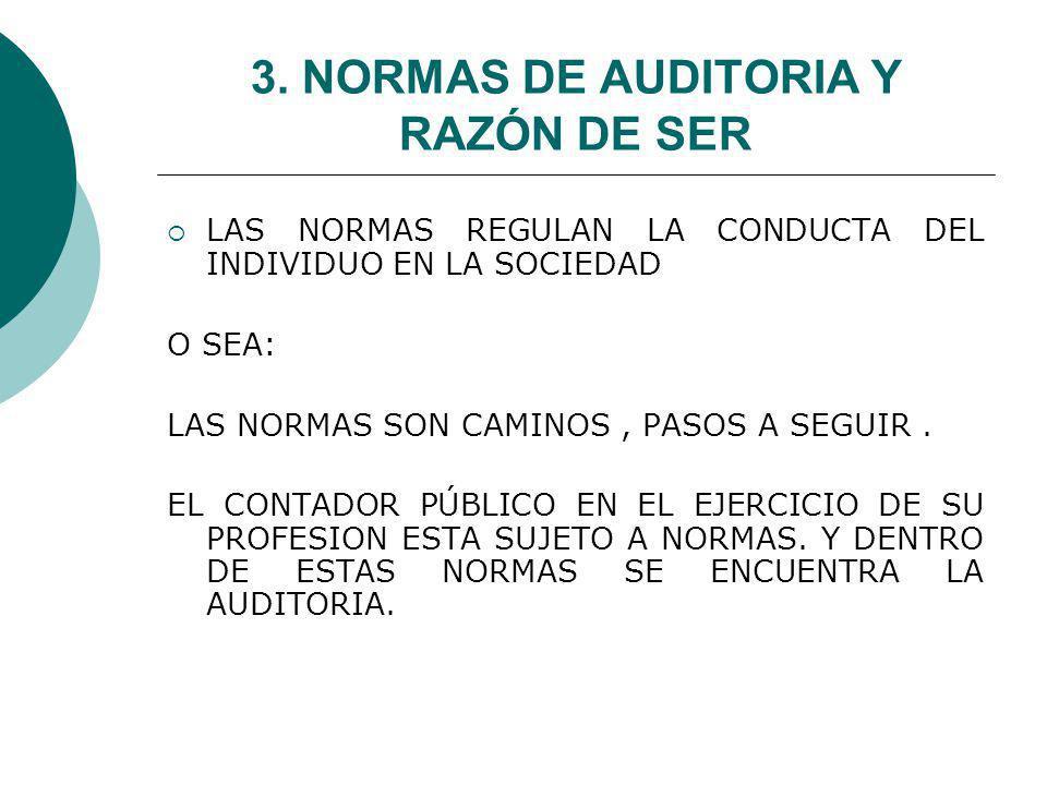 3. NORMAS DE AUDITORIA Y RAZÓN DE SER