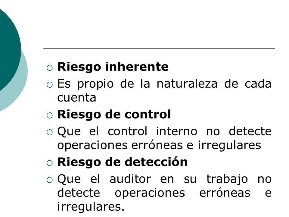 Riesgo inherente Es propio de la naturaleza de cada cuenta. Riesgo de control. Que el control interno no detecte operaciones erróneas e irregulares.