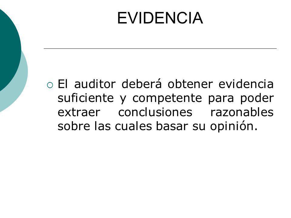 EVIDENCIA El auditor deberá obtener evidencia suficiente y competente para poder extraer conclusiones razonables sobre las cuales basar su opinión.