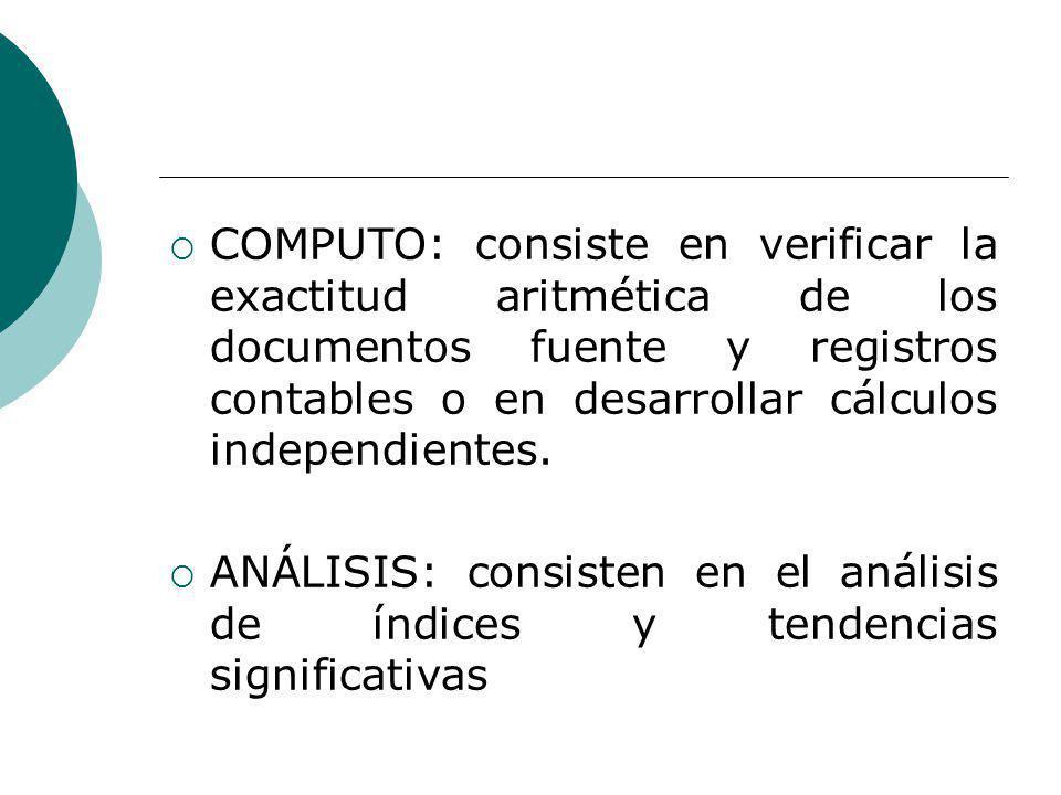 COMPUTO: consiste en verificar la exactitud aritmética de los documentos fuente y registros contables o en desarrollar cálculos independientes.