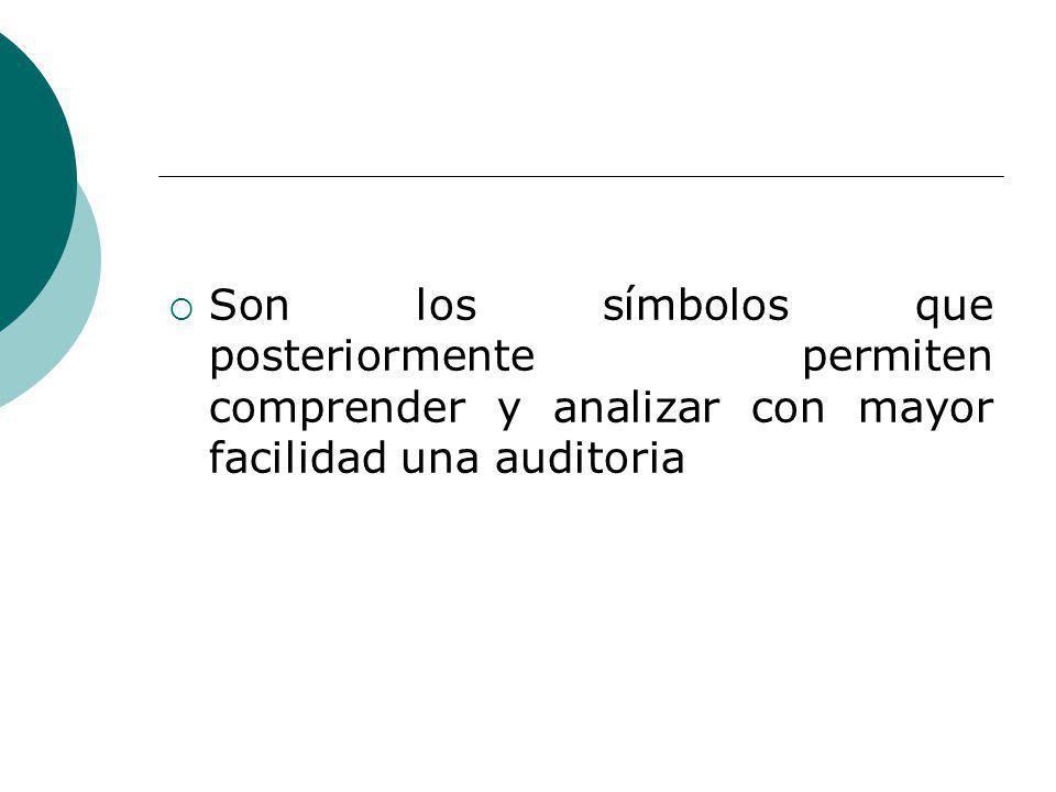 Son los símbolos que posteriormente permiten comprender y analizar con mayor facilidad una auditoria