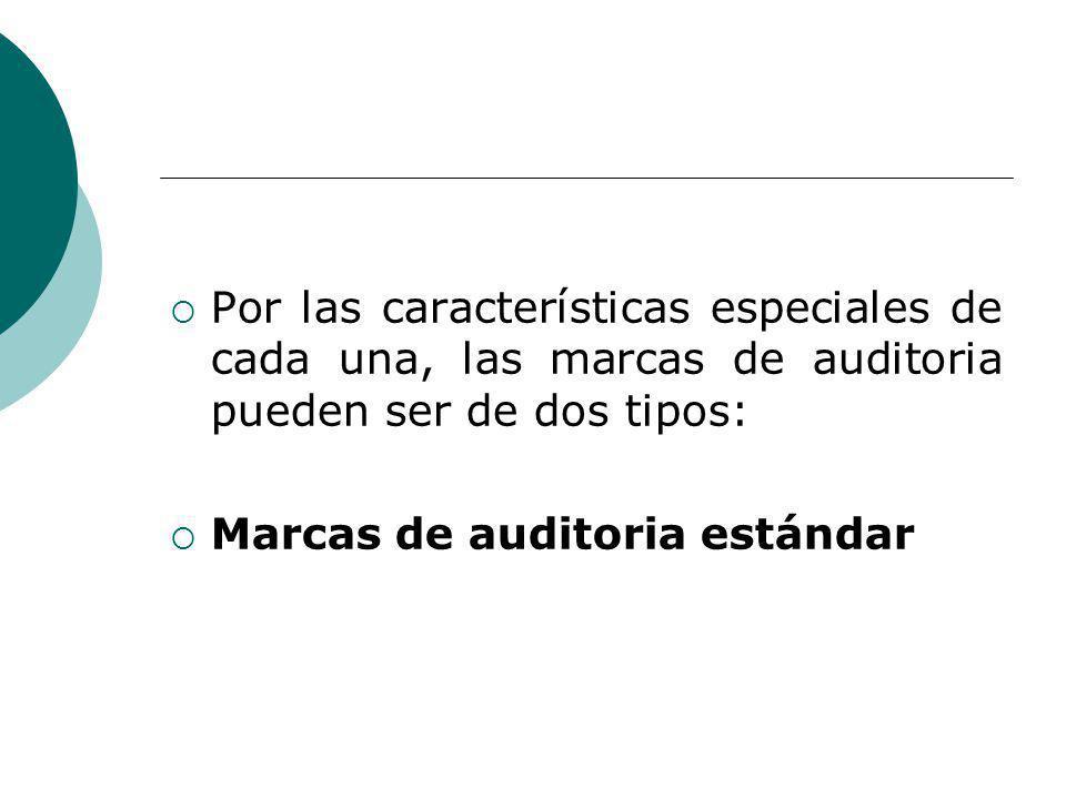 Por las características especiales de cada una, las marcas de auditoria pueden ser de dos tipos: