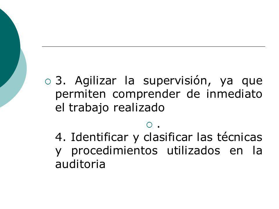 3. Agilizar la supervisión, ya que permiten comprender de inmediato el trabajo realizado