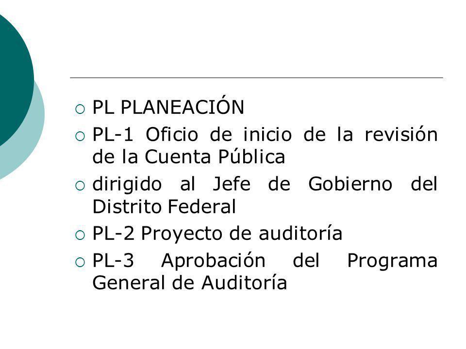 PL PLANEACIÓN PL-1 Oficio de inicio de la revisión de la Cuenta Pública. dirigido al Jefe de Gobierno del Distrito Federal.