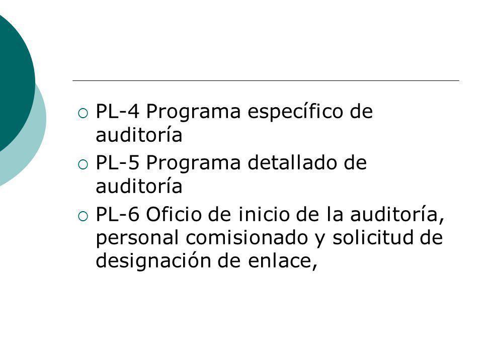 PL-4 Programa específico de auditoría