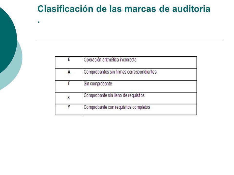 Clasificación de las marcas de auditoria .