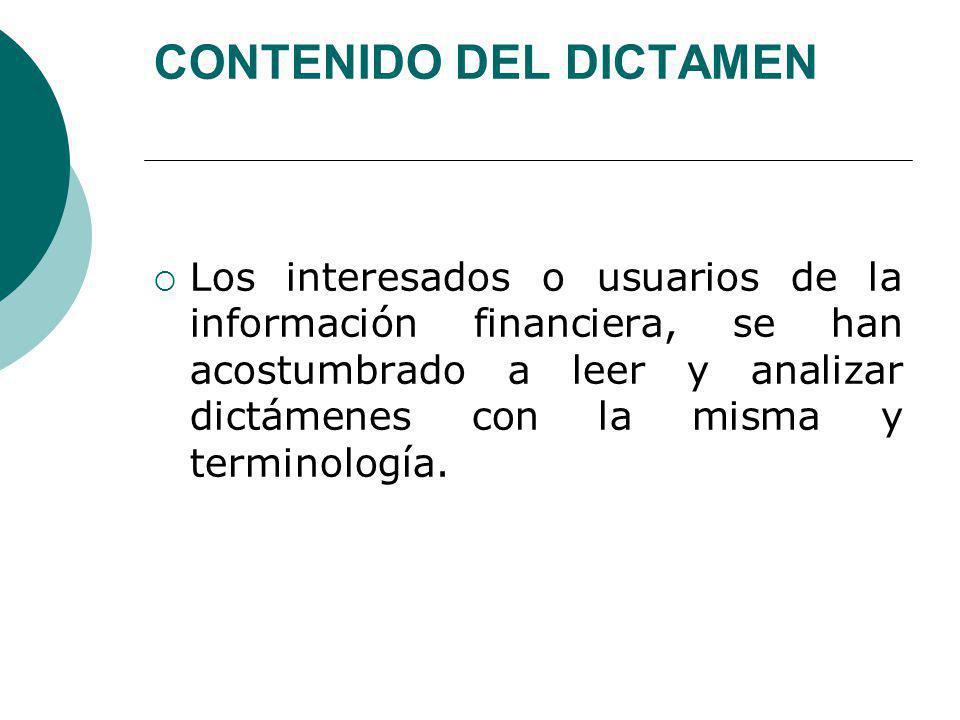 CONTENIDO DEL DICTAMEN