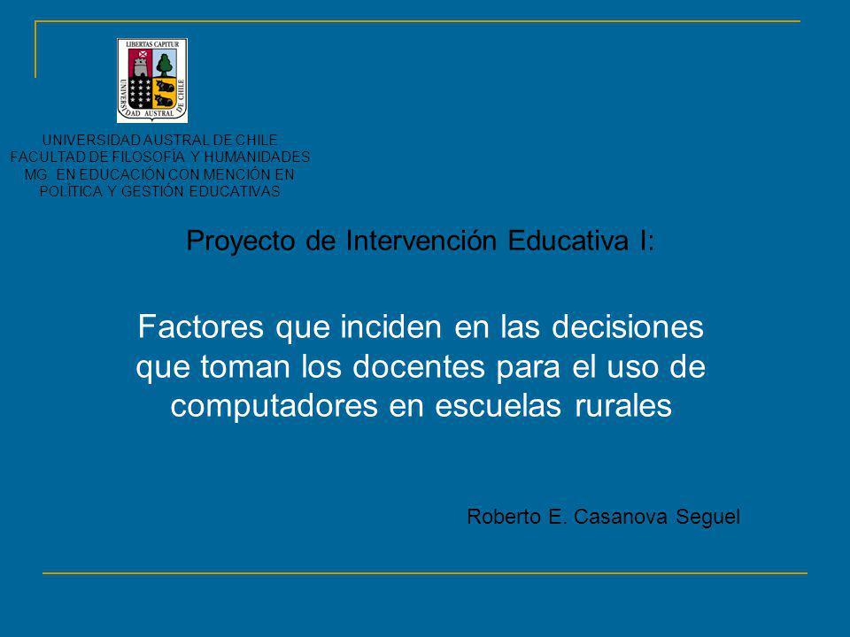 Proyecto de Intervención Educativa I: