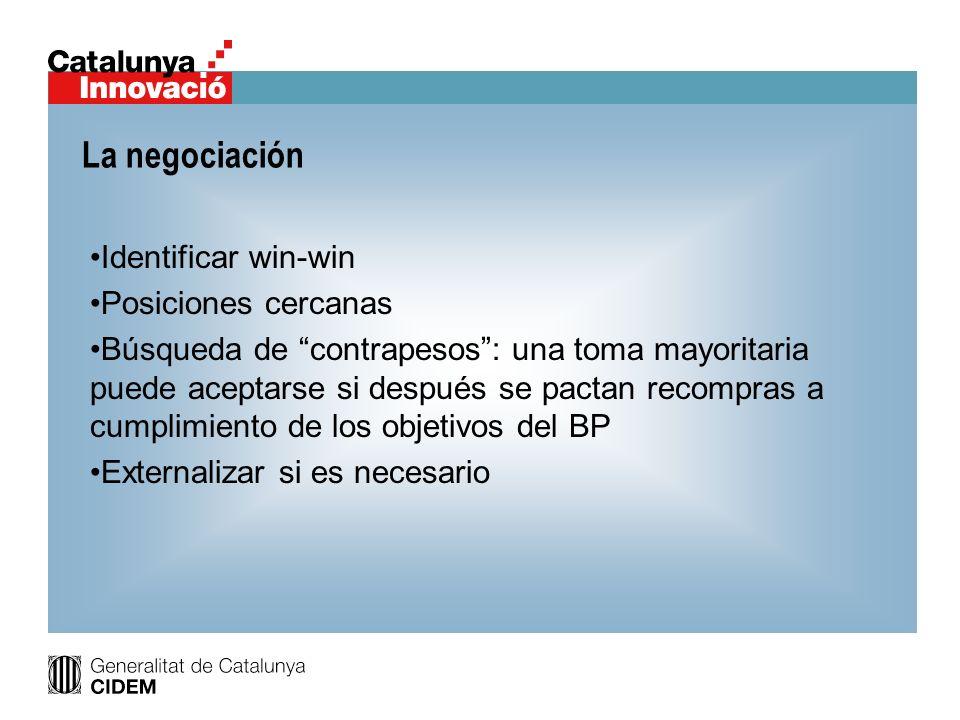 La negociación Identificar win-win Posiciones cercanas