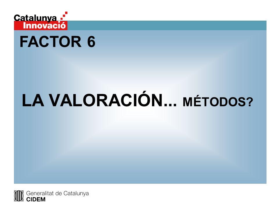 FACTOR 6 LA VALORACIÓN... MÉTODOS