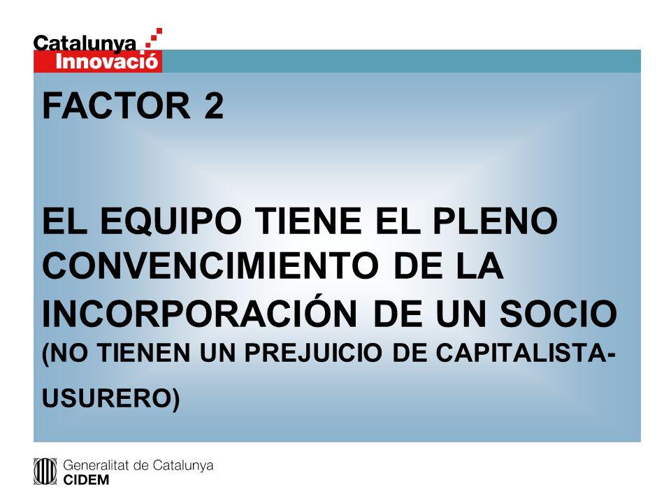 FACTOR 2 EL EQUIPO TIENE EL PLENO CONVENCIMIENTO DE LA INCORPORACIÓN DE UN SOCIO (NO TIENEN UN PREJUICIO DE CAPITALISTA-USURERO)