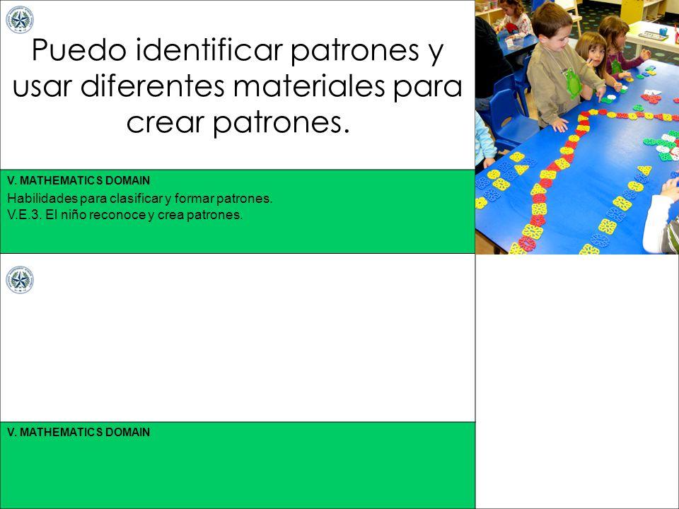 Puedo identificar patrones y usar diferentes materiales para crear patrones.