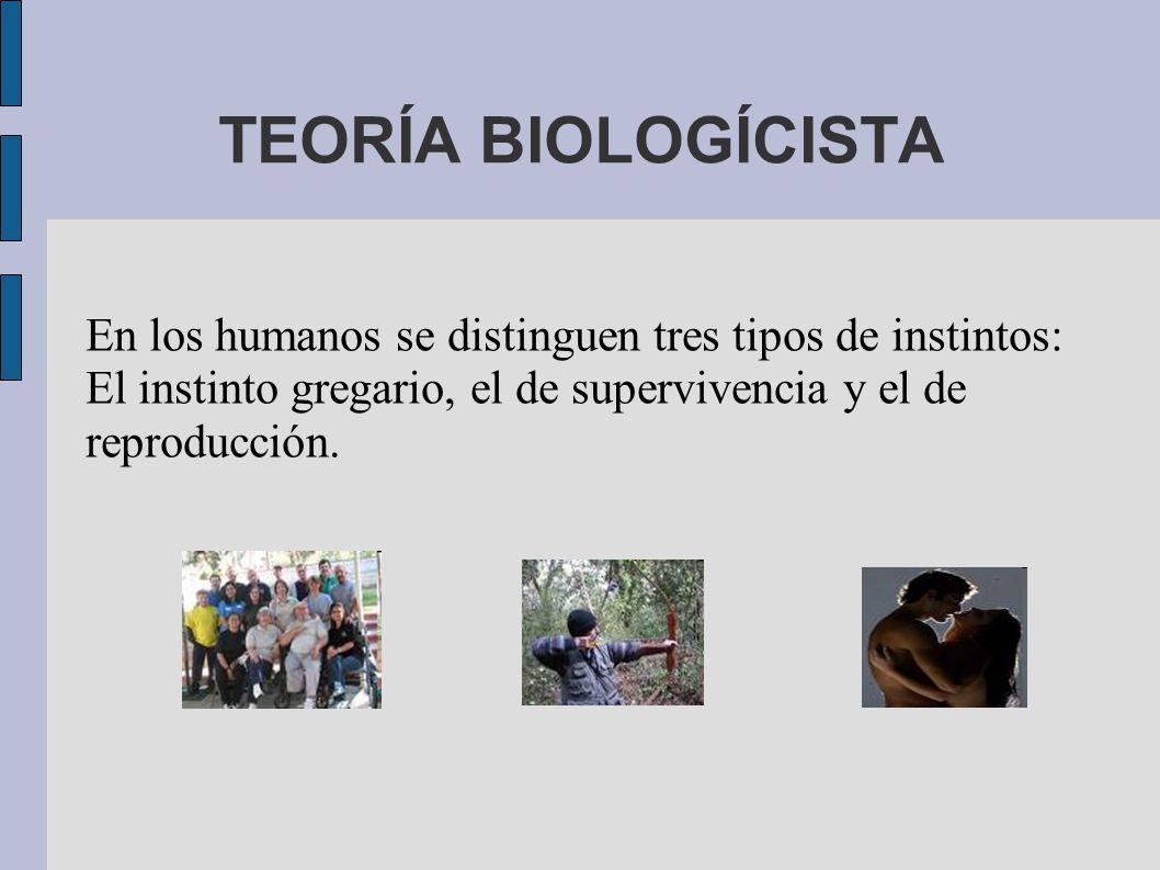 TEORÍA BIOLOGÍCISTA En los humanos se distinguen tres tipos de instintos: El instinto gregario, el de supervivencia y el de reproducción.