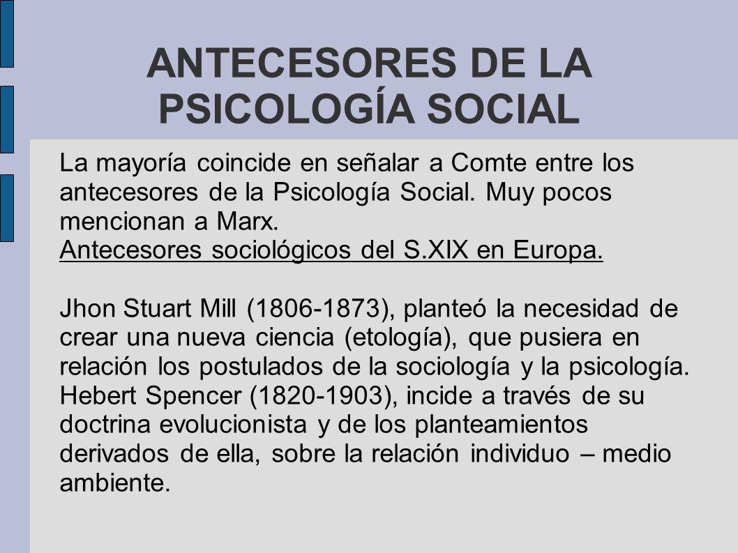 ANTECESORES DE LA PSICOLOGÍA SOCIAL