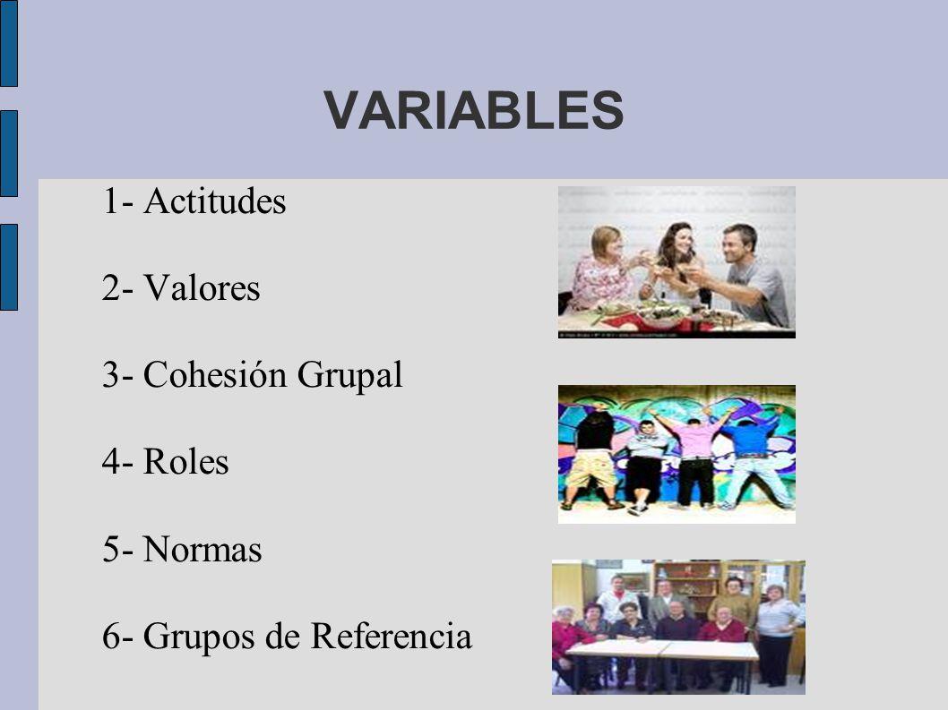 VARIABLES 1- Actitudes 2- Valores 3- Cohesión Grupal 4- Roles
