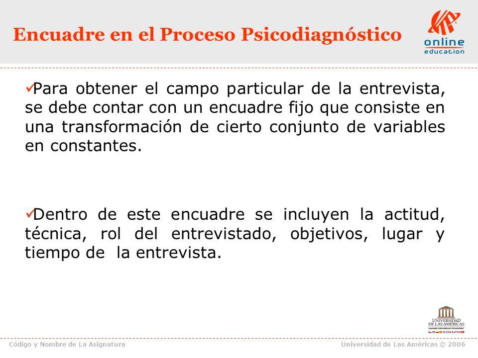 Encuadre en el Proceso Psicodiagnóstico