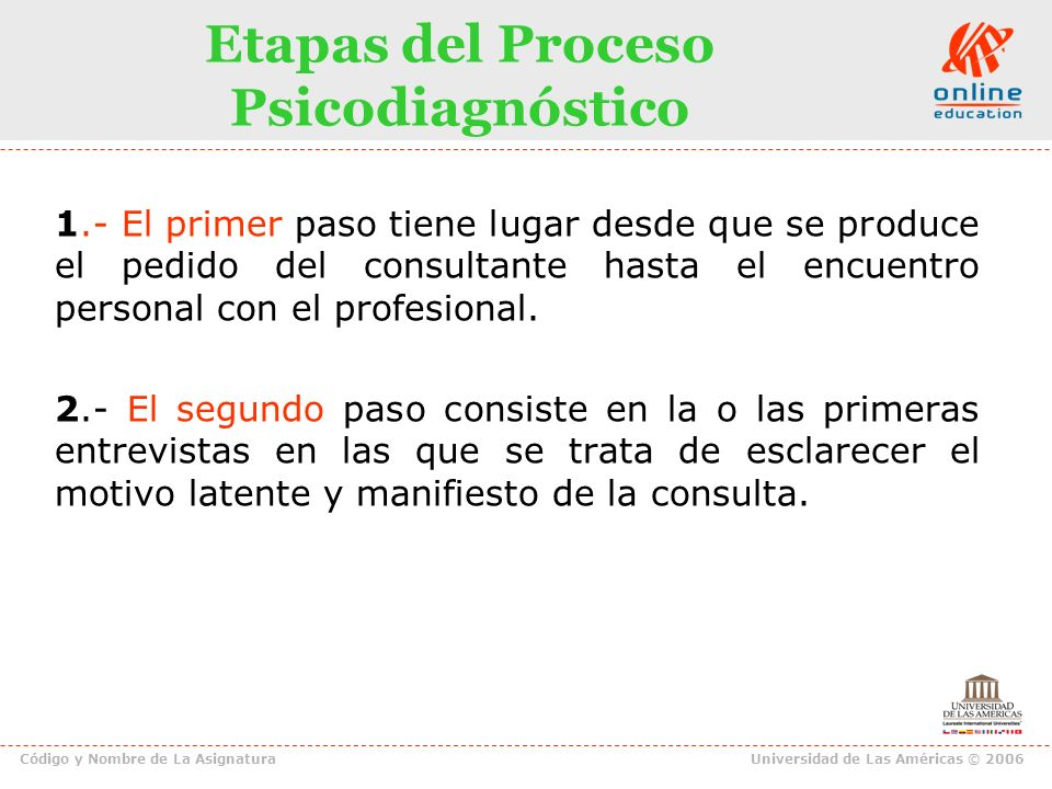 Etapas del Proceso Psicodiagnóstico
