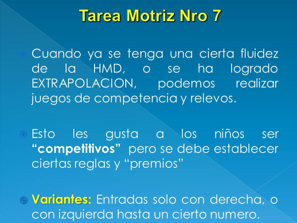 Tarea Motriz Nro 7 Cuando ya se tenga una cierta fluidez de la HMD, o se ha logrado EXTRAPOLACION, podemos realizar juegos de competencia y relevos.