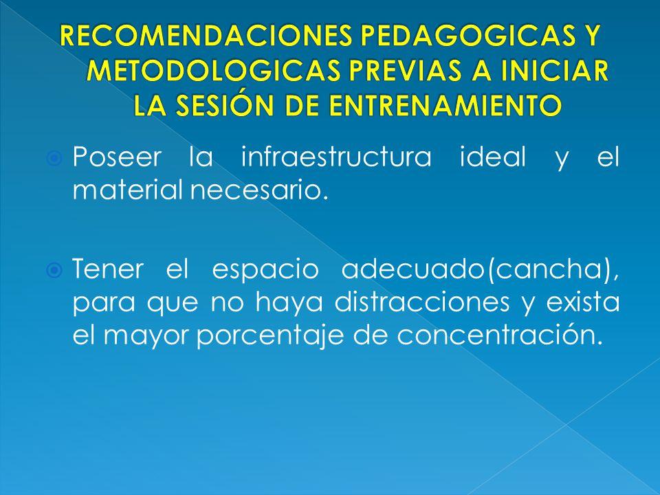 RECOMENDACIONES PEDAGOGICAS Y METODOLOGICAS PREVIAS A INICIAR LA SESIÓN DE ENTRENAMIENTO