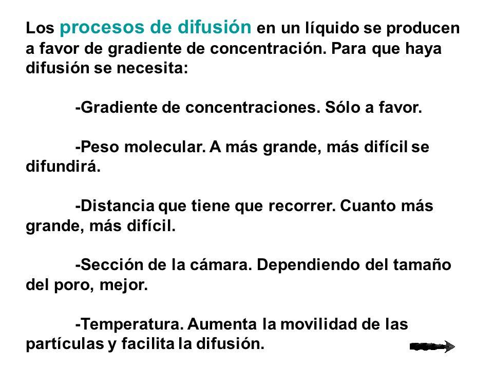 Los procesos de difusión en un líquido se producen a favor de gradiente de concentración. Para que haya difusión se necesita: