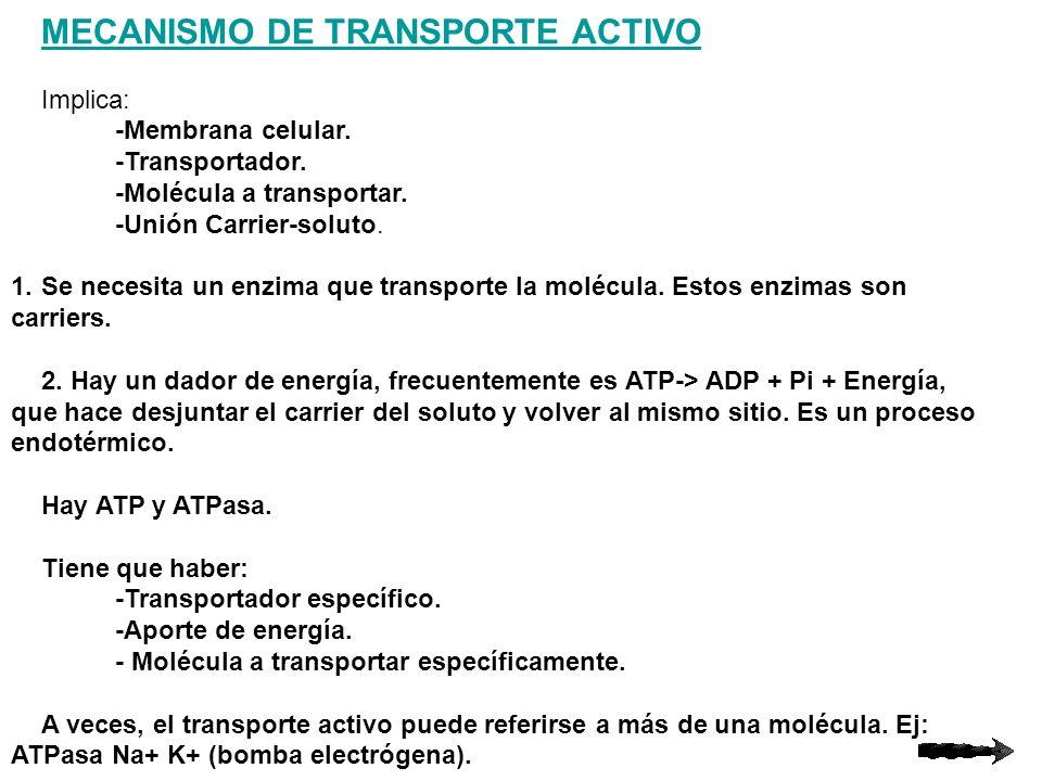 MECANISMO DE TRANSPORTE ACTIVO