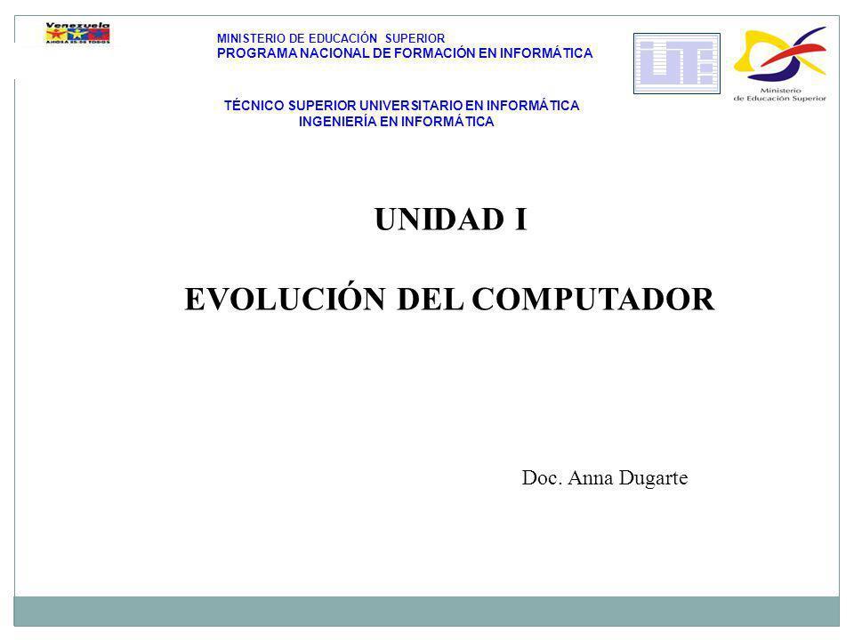 UNIDAD I EVOLUCIÓN DEL COMPUTADOR