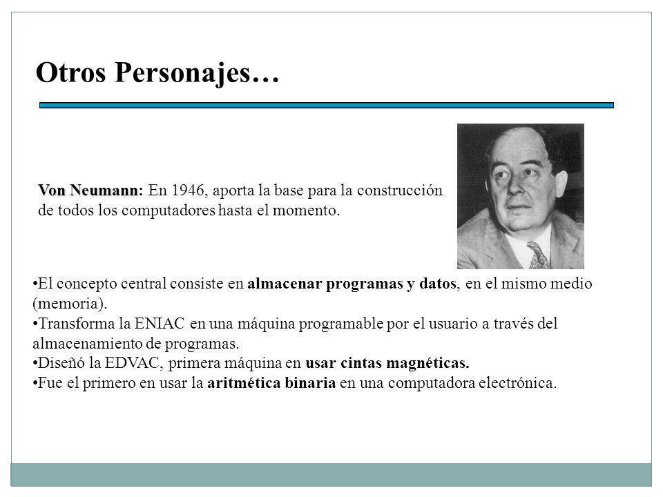 Otros Personajes… Von Neumann: En 1946, aporta la base para la construcción de todos los computadores hasta el momento.