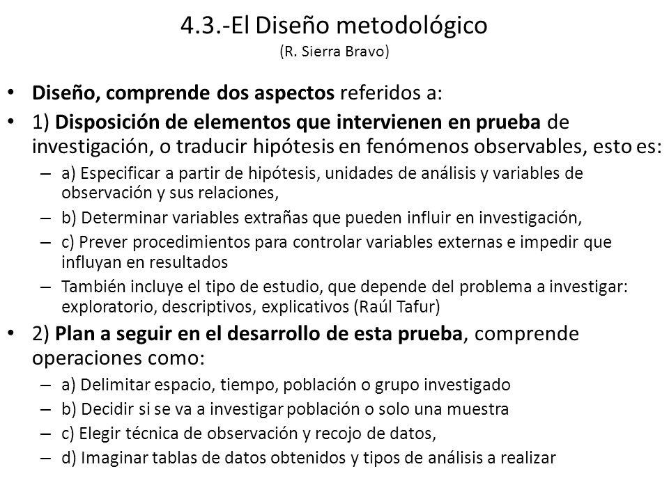 4.3.-El Diseño metodológico (R. Sierra Bravo)