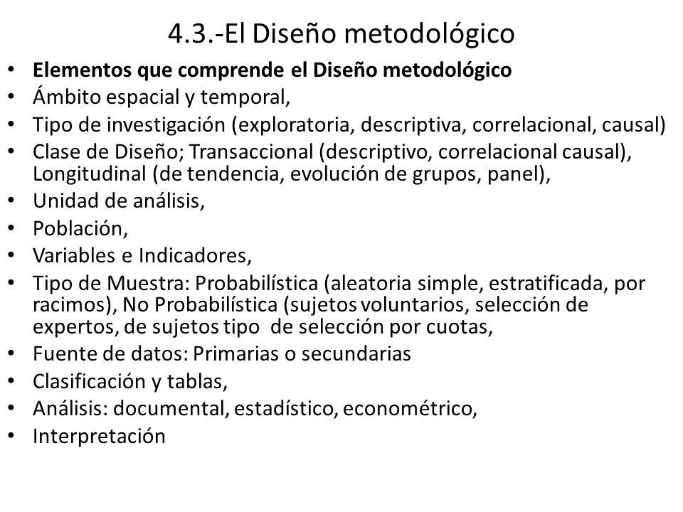 4.3.-El Diseño metodológico