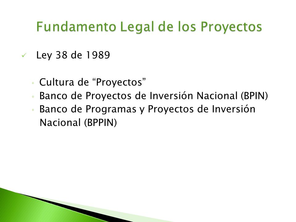 Fundamento Legal de los Proyectos
