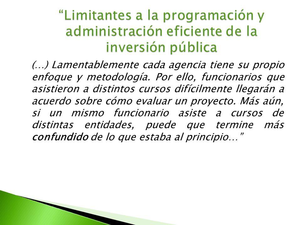 Limitantes a la programación y administración eficiente de la inversión pública