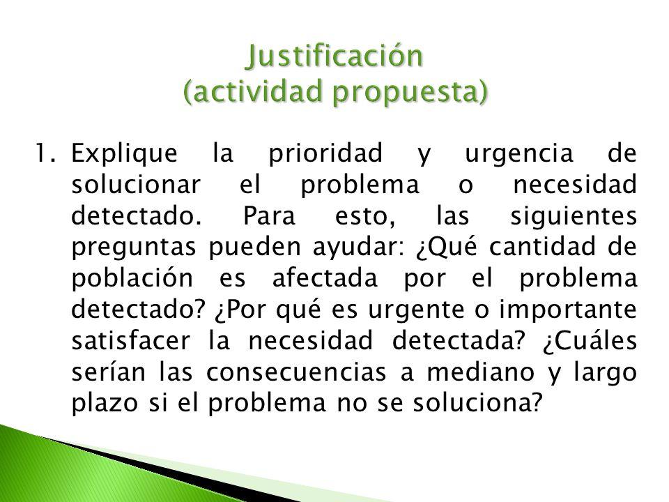 Justificación (actividad propuesta)