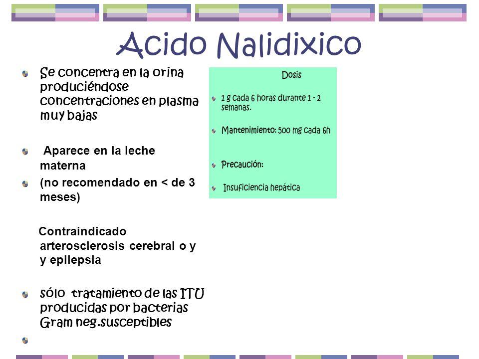 Acido Nalidixico Se concentra en la orina produciéndose concentraciones en plasma muy bajas. Aparece en la leche materna.