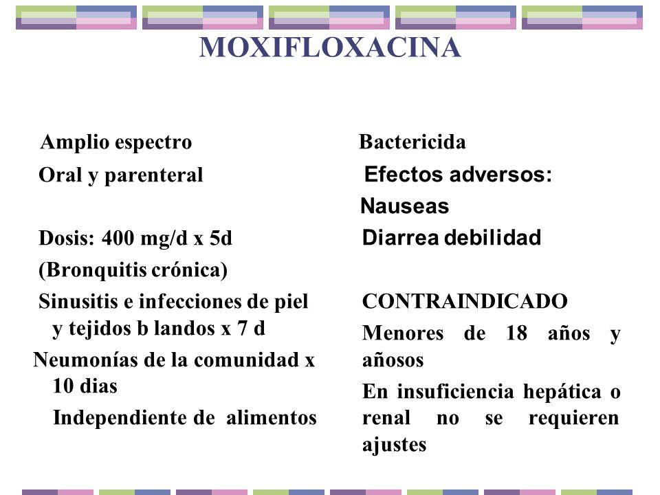 MOXIFLOXACINA Amplio espectro Bactericida Oral y parenteral