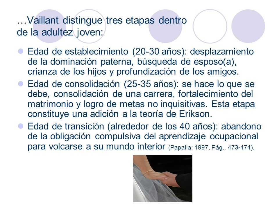 …Vaillant distingue tres etapas dentro de la adultez joven: