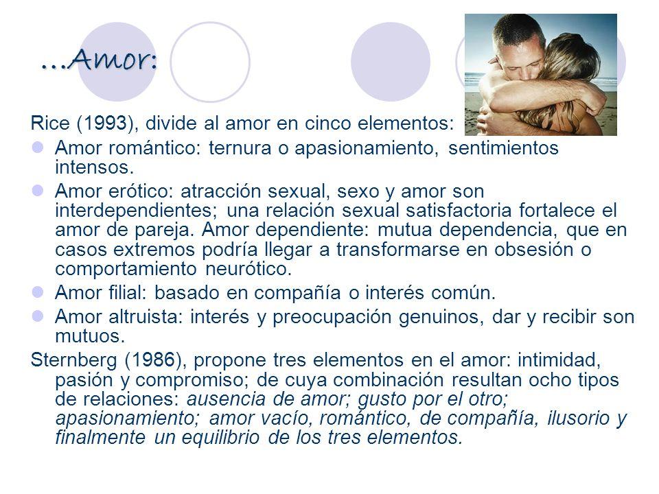 ...Amor: Rice (1993), divide al amor en cinco elementos: