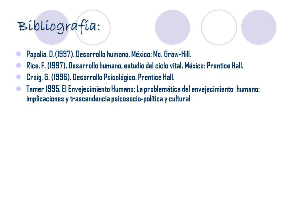 Bibliografía: Papalia, D.(1997). Desarrollo humano. México: Mc. Graw-Hill.