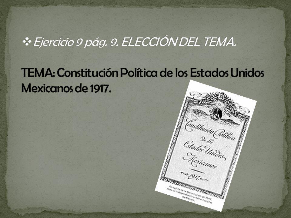 Ejercicio 9 pág. 9. ELECCIÓN DEL TEMA