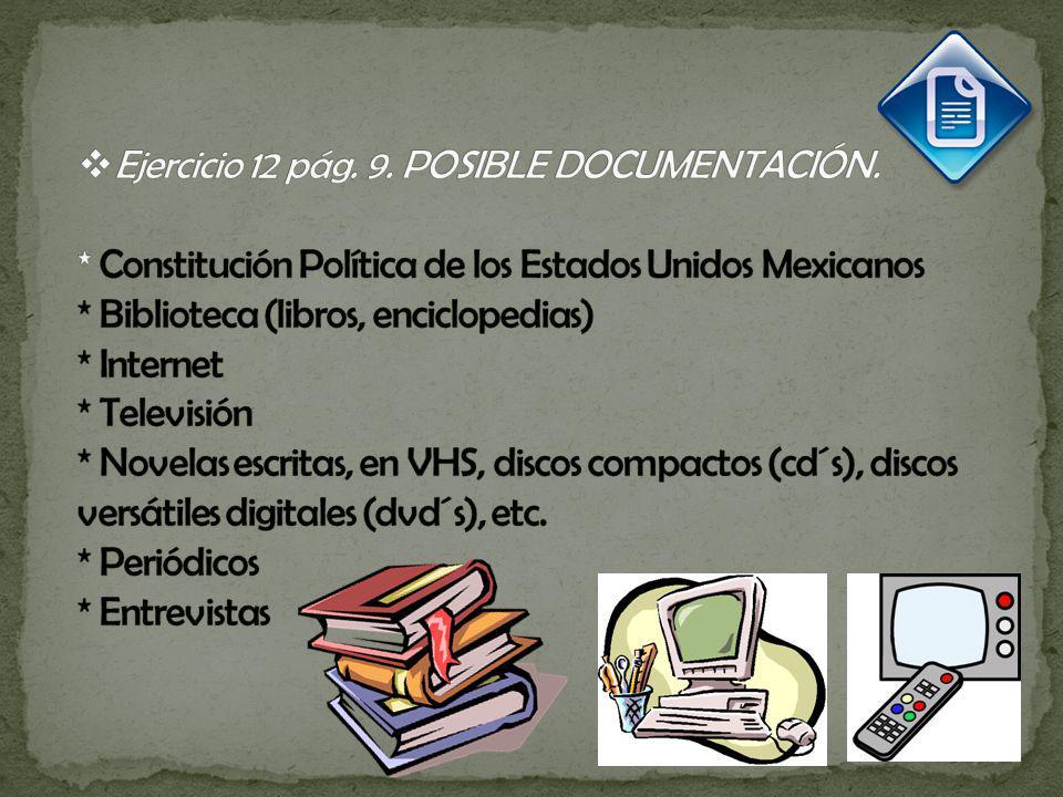 Ejercicio 12 pág. 9. POSIBLE DOCUMENTACIÓN