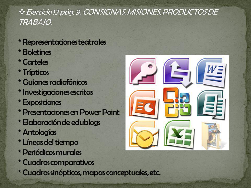 Ejercicio 13 pág. 9. CONSIGNAS, MISIONES, PRODUCTOS DE TRABAJO