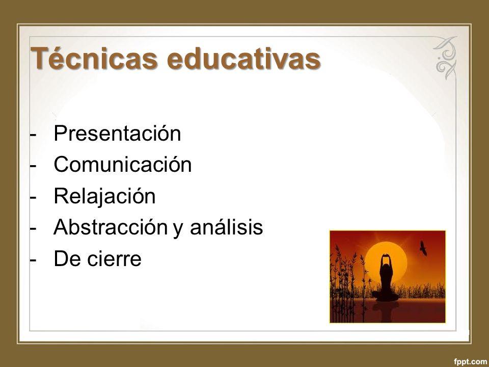 Técnicas educativas - Presentación - Comunicación - Relajación